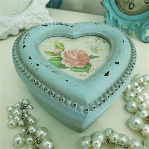 shabby chic heart trinket box in duck egg blue