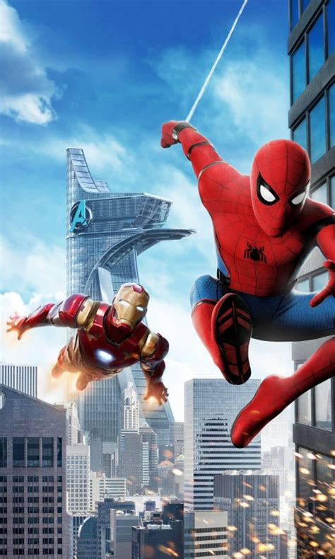 wallpaper spider man homecoming iron man hd