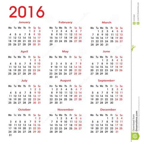 Calendrier Numéro Semaine 2016 Calendrier Simple 2016 Illustration De Vecteur Image