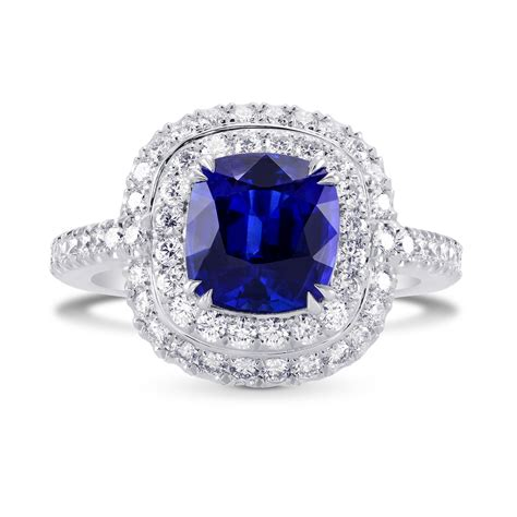 blue sapphire and halo platinum ring sku