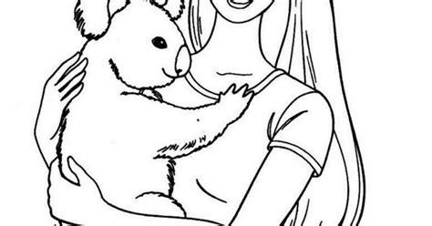 barbie koala coloring page barbie holding a koala kids colouring pages pinterest