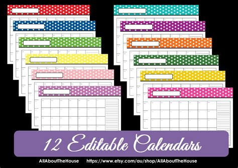 printable calendar editable 2014 editable 12 polka dot calendars you choose 2015 2016 and