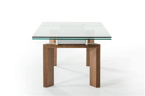 glass and walnut dining table modrest bijou contemporary extendable walnut glass