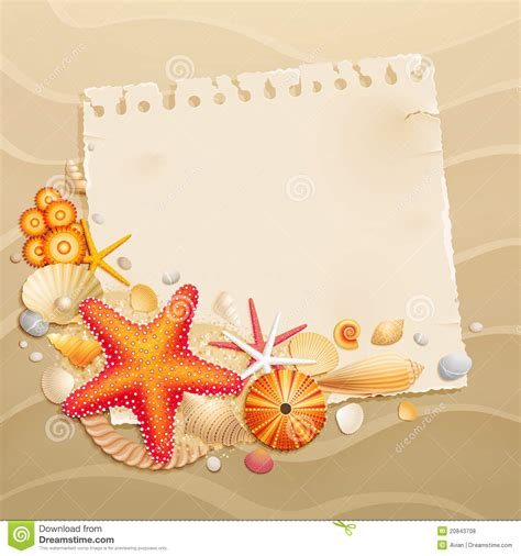 card with photos vintage greeting card with shells royalty free stock