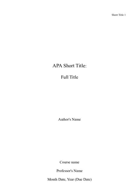 apa style cover page for research paper apa format cover page template research paper sle pdf