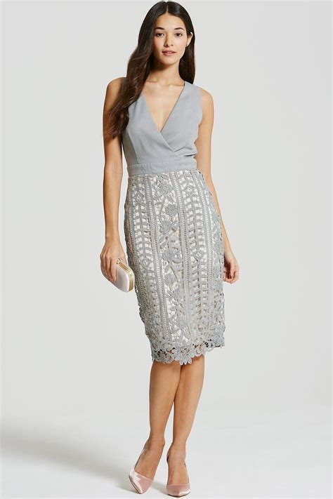 Dress Lace Grey grey crochet lace wrap front midi bodycon dress from
