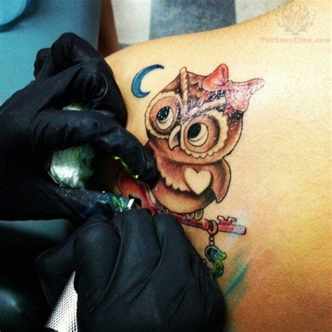 owl and moon tattoo owl blue color images