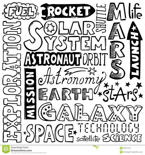 doodle words doodles space words stock images image