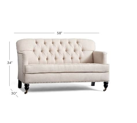mini loveseat tudor upholstered mini sofa pottery barn