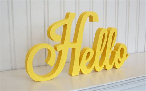 Handmade Word - hello wood word sign handmade wood sign yellow painted