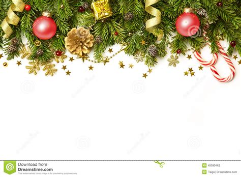 christmas decorations border isolated on white background