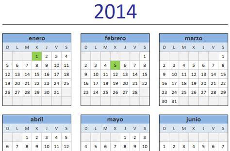 Calendario 2014 Colombia Calendario 2014 En Excel Excel Total