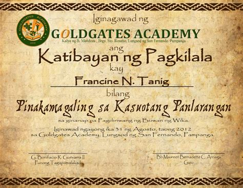 buwan ng wika certificate by roeljangeles on deviantart