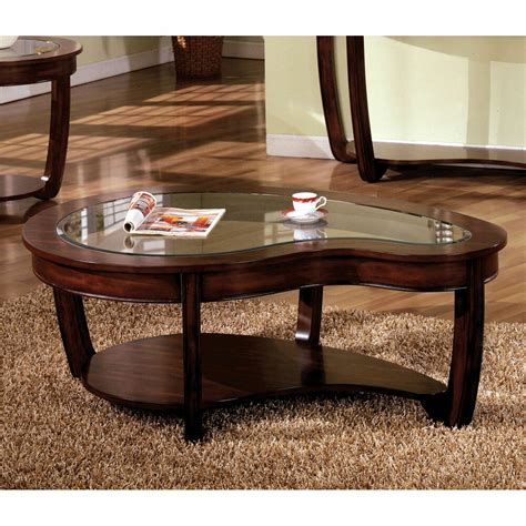 furniture living room curve dark cherry glass top coffee