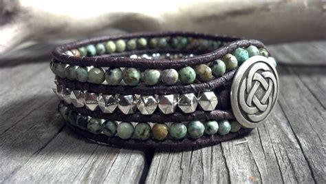 African Turquoise Cuff Leather Wrap Bracelet, Southwestern Chic, Boho on Luulla