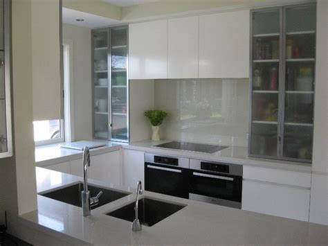 Yellow Grey Kitchen - coloured glass splashbacks the glass room