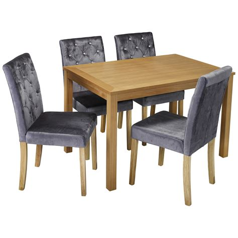 Silver Dining Table And Chairs Oak Dining Table And Chair Set With 4 Velvet Fabric Seats Black Purple Silver Ebay
