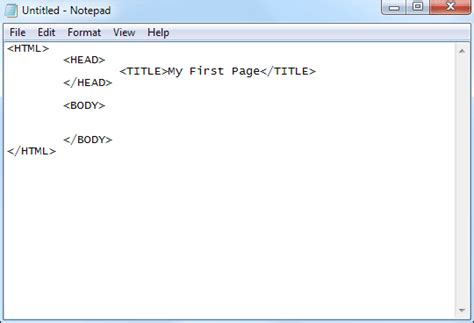 format html tags in notepad getting started with tags in html and html5