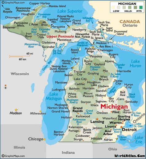 large map of michigan map of michigan large color map