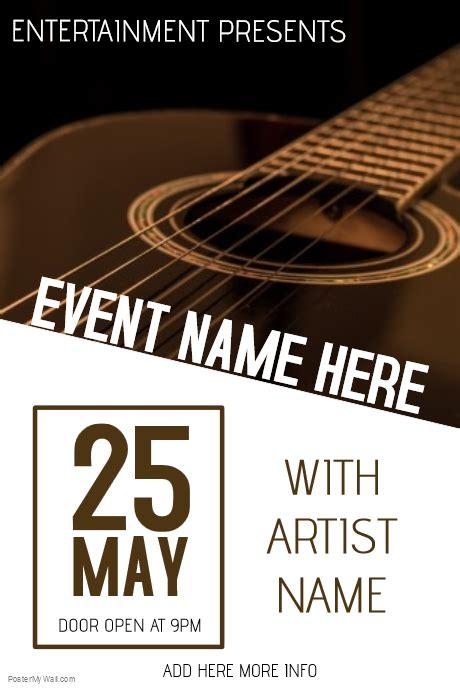 Live Music Event Guitar Concert Poster Template Postermywall Live Poster Template