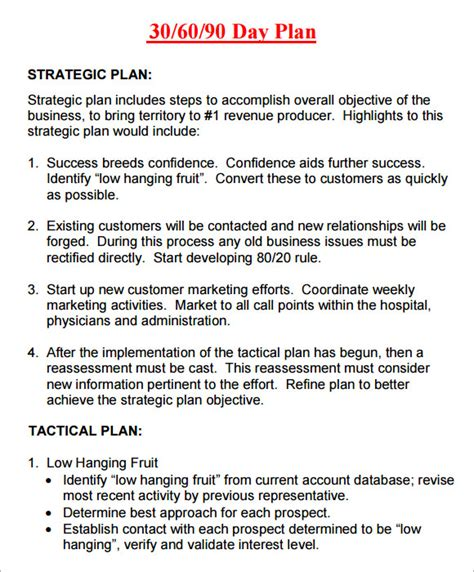 8 Sle 30 60 90 Day Plan Templates To Download Sle Templates 90 Day Plan Template