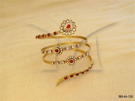 Bajuband Pic flower spiral circular bridal polki bajuband manek ratna