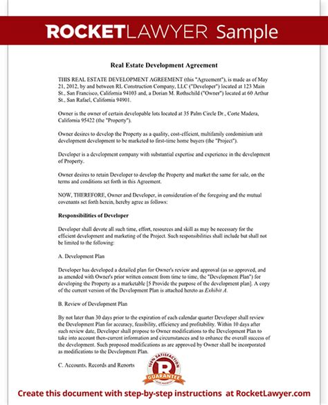 Real Estate Development Agreement Template Contract With Sle Real Estate Development Agreement Template