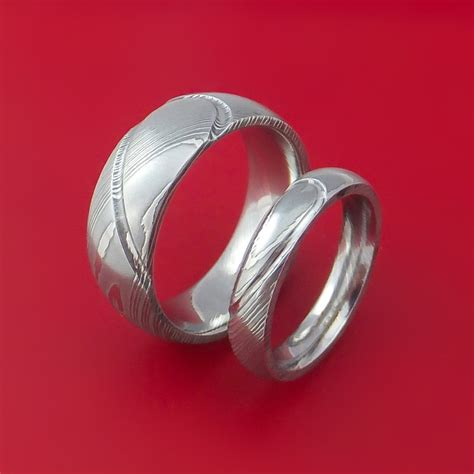 Matching Damascus Steel Heart Carved Ring Set  Ee  Wedding Ee