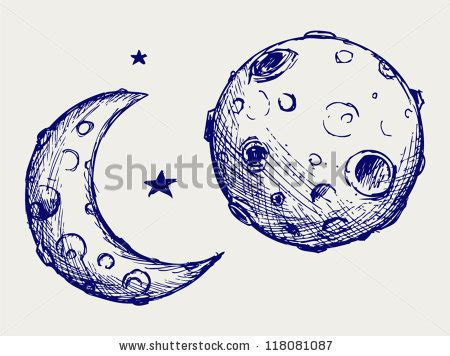 moon and doodle moon and lunar craters doodle style stock vector