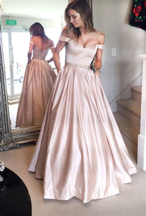sexy  shoulder sleeves rose pink prom dress