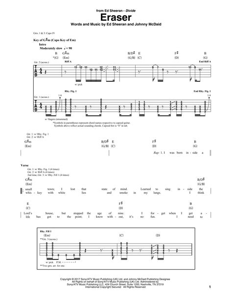 ed sheeran easy chords eraser guitar tab by ed sheeran guitar tab 181791