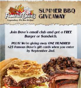 Famous Dave S Gift Card - famous dave s summer bbq giveaway win a 25 famous dave s gift card