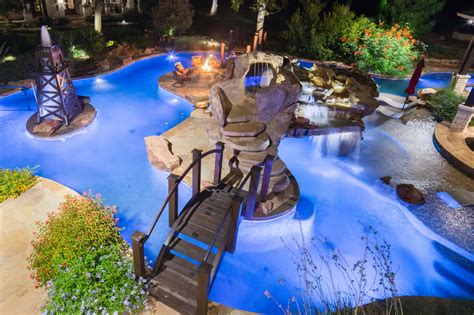 Texas Ranch Homes signature project ranch lazy river by custom design pools