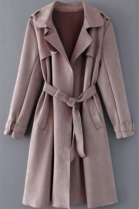 Belted Sleeve Trench Coat lapel belted pockets sleeve suede chic trench