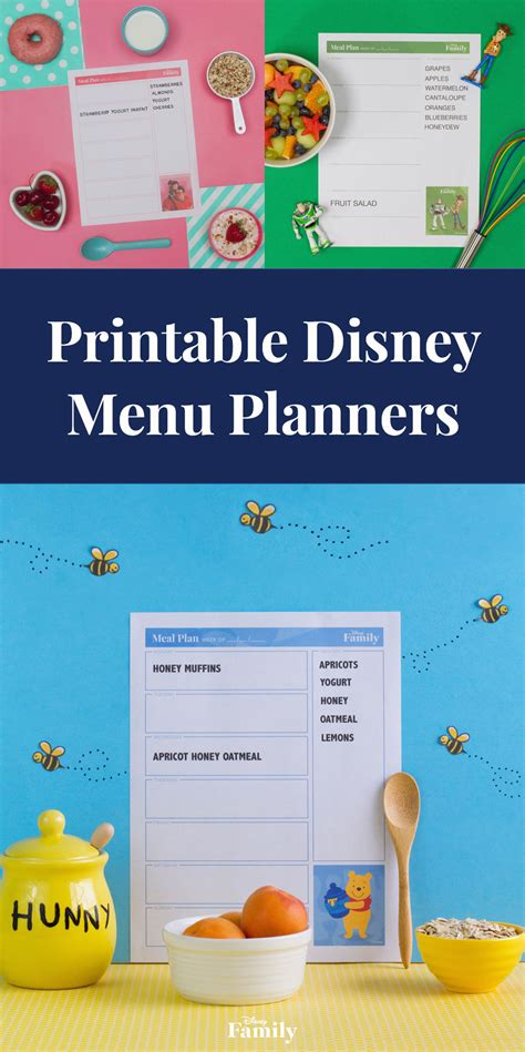printable disney planner printable disney menu planners disney family