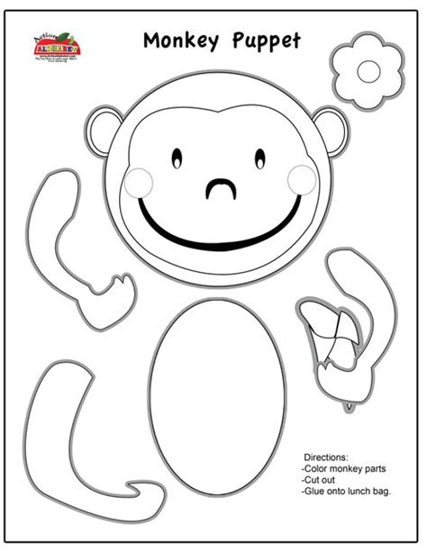 Monkey Paper Bag Puppet Template monkey finger puppet coloring activity coloring pages