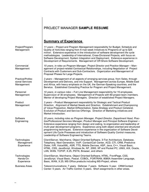 Experienced Resume Summary The Resume Summary Exles Resume Format Web