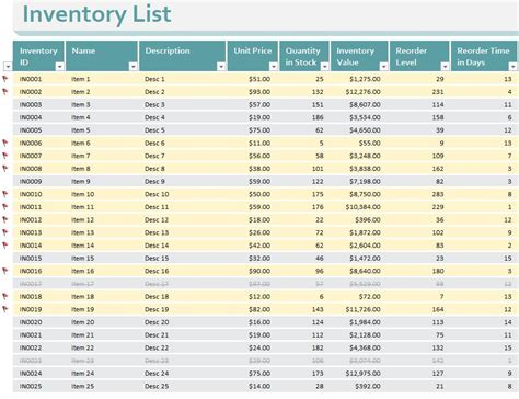 company inventory template small business inventory and list spreadsheet