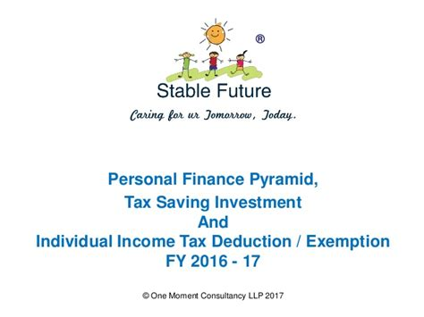 Personal Finance Pyramid and Tax Deduction Exemption FY2016 17