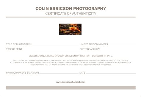 certificate of authenticity photography planner template