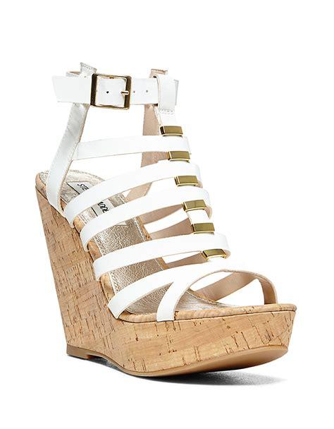 white strappy wedge sandals steve madden indyanna strappy cork platform wedge sandals
