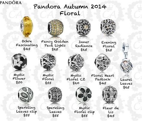 pandora charms and prices