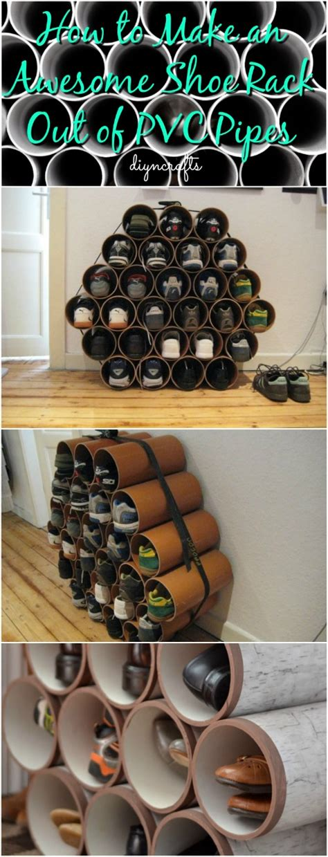 shoe rack pvc pipe how to make an awesome shoe rack out of pvc pipes diy crafts