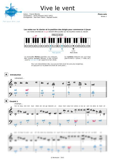 tutorial piano vive le vent partition vive le vent partition de piano pour no 235 l la