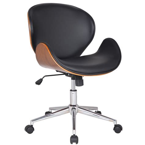 Adeco bentwood walnut color home office chair leatherette cushion seat with curved back