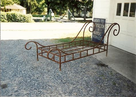 wrought iron sleigh bed sleigh bed made by village craft iron wrought iron beds