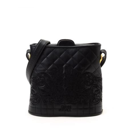 Versace Embroidered Shoulder Bag by Versace Embroidered Shoulder Bag Leather Lxrandco Pre