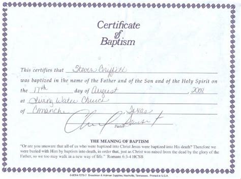 pin christian water baptism certificate template on pinterest