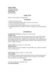 career objective resume sles strength and conditioning coach resume sles objective