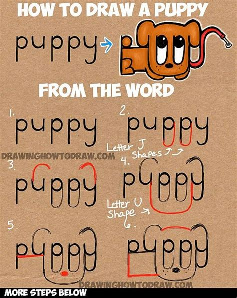 learn how to draw a cartoon puppy from the word puppy